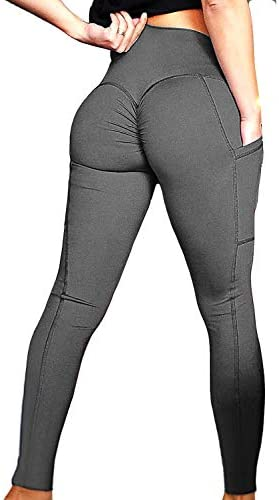 FITTOO Womens Butt Lift Ruched Yoga Pants Sport Pants Workout Leggings Sexy High Waist Trousers Tight Side Pocket