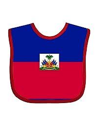 Flag Haiti Flat Teething Bib Adjustable Feeding Bibs Soft For Toddlers