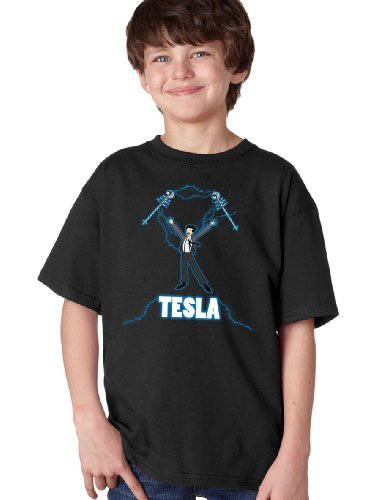 NIKOLA TESLA COIL Youth T-shirt / Nerdy, Geeky, Engineer Funny Science Tee