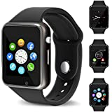Smart Watch - 321OU Bluetooth Smart Watch Fitness Tracker Touch Screen Smartwatch Support SIM SD Card Slot Make/Answer Phone Camera Pedometer Compatible Android iOS Samsung for Women Kids Men (Black)