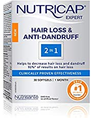 NUTRICAP Hair Loss 2in1, Anti Hair loss and Anti-Dandruff, All Natural, 91% of the users see positive results, 30 Capsules, 1 Month