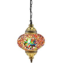 (18 Variations)NEWEST CopperBull 2018 Turkish Moroccan Tiffany Style Handmade Mosaic Hanging Ceiling Lamp Light Pendant Fixture Lantern (8)