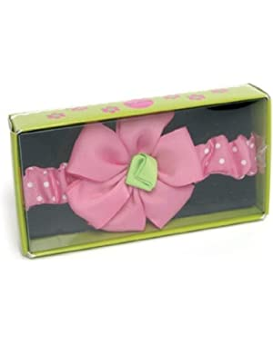Baby Head Band Pink Polk a dot Flower with Pink Band