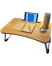 UR BBLFH الخيزران مكتب كمبيوتر محمول متعدد الوظائف سرير طاولة كمبيوتر محمول حامل مكتب مع حامل أكواب لأريكة سرير