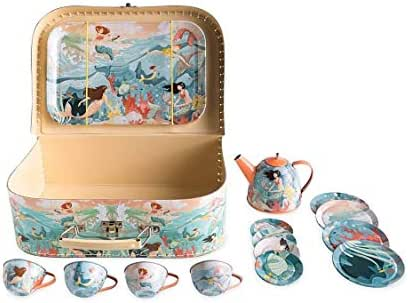HearthSong Mermaid Metal Tin Tea Service Set for Kids, 15 Pieces with Carrying Case…