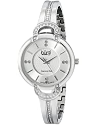 Burgi Womens BUR105SS Silver Swiss Quartz Watch with Silver Dial and Silver Crystal Accented Bracelet
