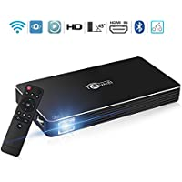 Portable DLP WIFI Projector, Home Theater Mini Projector, C800i Full HD Outdoor Projector Android 4.4 3000 Lumens 854 x 480 Pixels 1080P Dual Band Bluetooth 4.0 HDMI Input Player with USB,HDMI