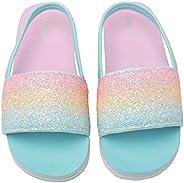 Ataiwee Girls Sandals - Boys Toddler First Walker Slides Slip On Non-Skid Elastic Band Summer Shoes for 6/12 /