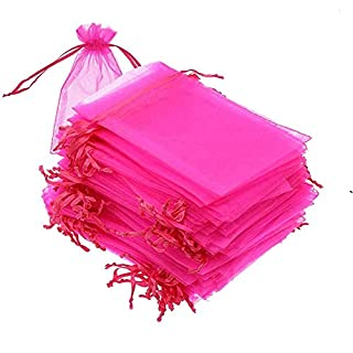 100pcs 6x9 inch Organza Drawstring Bags, Hot Pink Paparazzi Pouches, Transparent Jewelry Candy Treat Bags Party Wedding Favor Gift Bags