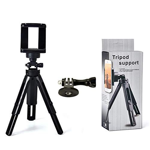 Powerpak Video-228 Mini Tripod Stand + Mobile Holder Clip Desktop Self-Tripod + Mount Adapter for DSLR Camera & Smart Phone Mobile Phone