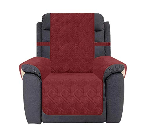 Ameritex Waterproof Recliner Cover Coral Fleece Furniture Protector Anti-Slip Updated Pattern Supper Soft and Warm Pet Sofa Cover for Dogs and Children