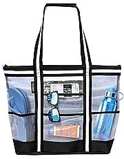 Vulken 38L Mesh Beach Bag. Multipurpose Top Zip 9 Pockets Tote Bag Shoulder Bag.