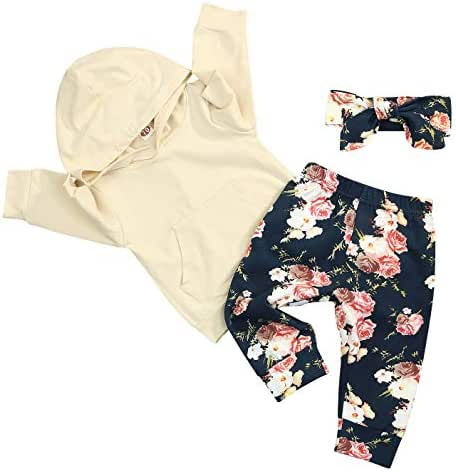 Newborn Baby Girls Clothes Long Sleeve Hoodie Shirt Top Floral Pants with Headband 3Pcs Outfit Sets