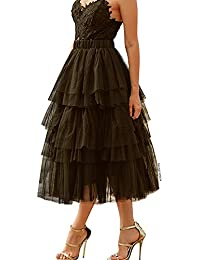 Women's Nude Pink/Black Tiered Layered Mesh Ballet Prom Party Tulle Tutu A-line Midi Skirt