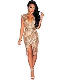 Women Short Sleeve Deep V-Neck Sequin Split Bodycon Cocktail Party Dress