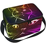 senya A Cute Cat In Neon Light Insulated Lunch Bag Lunchbox Cooler Tote Bag for Picnic School Women Kids