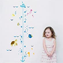 FunnyPicker Cartoon Underwater Height Measure Fish Bubble Boat Wall Stickers For Kids Rooms Wall Decals Art Nursery Height Chart Mural