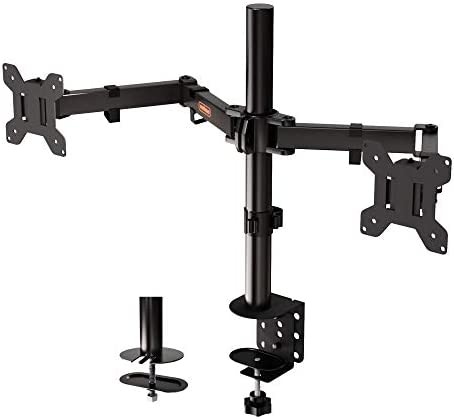 "VonHaus Dual Monitor Mount for 13-32"" Screens – Double Arm Desk Stand Bracket with Clamp – 90° Tilt, 360° Rotation & Twin 180° Swivel Arms – VESA Dimensions: 75×75-100×100"