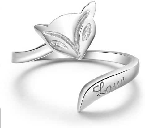 Silver Plated Silver Tone Fox Shaped Finger Rings For Girl,Adjustable Ring-RSS005