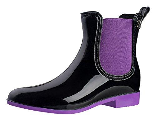 Silky Toes Womens Fashion Elastic Slip On Short Rain Boots Purple 9d6JZ9