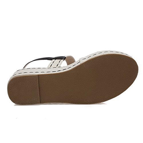 Amoonyfashion Donna Tacco Alto In Materiale Morbido Colore Assortito Pull-on Open Toe Sandali Beige