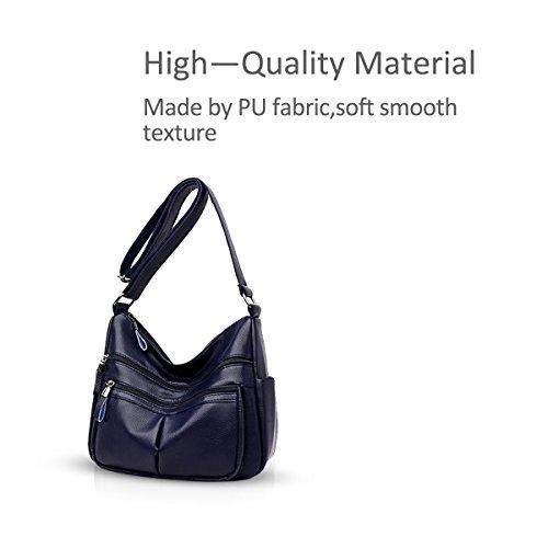 DORIS Bolso mujer larga amp; la de Fashion Azul Crossbody correa de la Litchi Bolso hombro de NICOLE de piel RO5v4wgqw