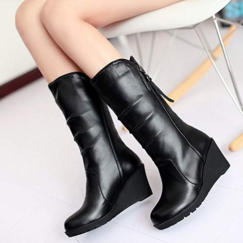 Calf Boots CHICMARK Wedge Mid Black Women UqEWO4WwY