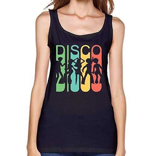 Women Vest Comfy Vintage Retro 1970's Style Rainbow Disco Dancers Cotton Blouse ()