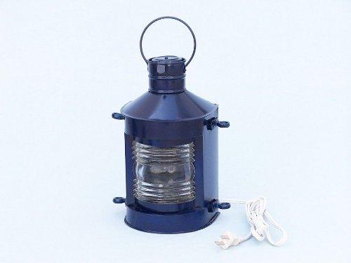 "Hampton Nautical  Iron Masthead Electric Lamp, 12"", Dark Blue, Iron"