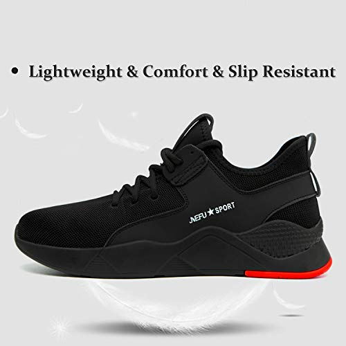 ORISTACO Work Shoes Mens, Mesh Breathable Lightweight Comfortable Steel Toe Safety Industrial Construction Slip Resistant Shoes