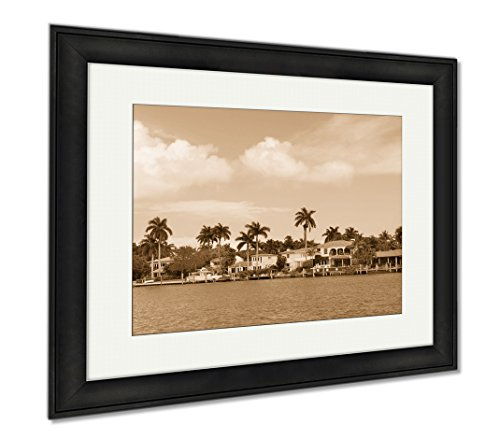 Ashley Framed Prints Luxury House On Hibiscus Island In Downtown Miami Florida  Modern Room Accent Piece  Sepia  34X40  Frame Size   Black Frame  Ag6453307