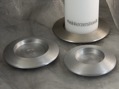 Kerzenteller Kerzenständer Kerzenhalter für Hochzeitskerze Taufkerze silber 16506, Größe:7 cm innen