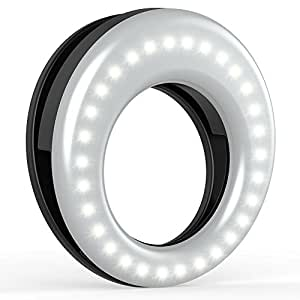 Auxiwa Clip On Ring Light for Camera [Rechargeable Battery] Selfie LED Camera Light with 36 LED for Smart Phone Camera, Round Shape, Black