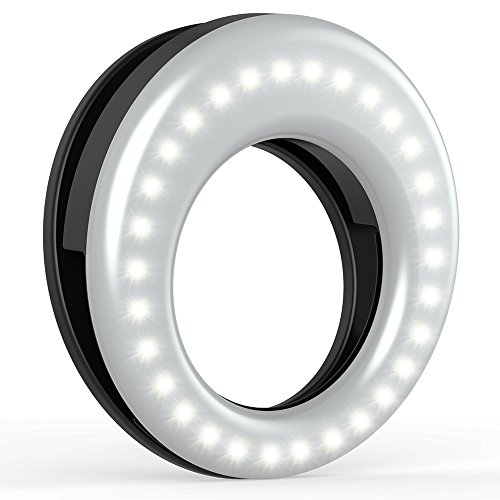 Auxiwa Clip On Ring Light for Camera [Rechargeable Battery] Selfie LED Camera Light with 36 LED for Smart Phone Camera, Round Shape, - A Face Round Have I