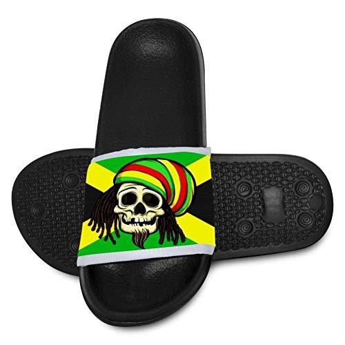 SsSEYYA Kids Anti-Slip Indoor Floor Sandal Bath Slipper Jamaica Flag Skull for Girls and Boys 4 B(M) US Big Kid Black (B&e Sonnenbrille)