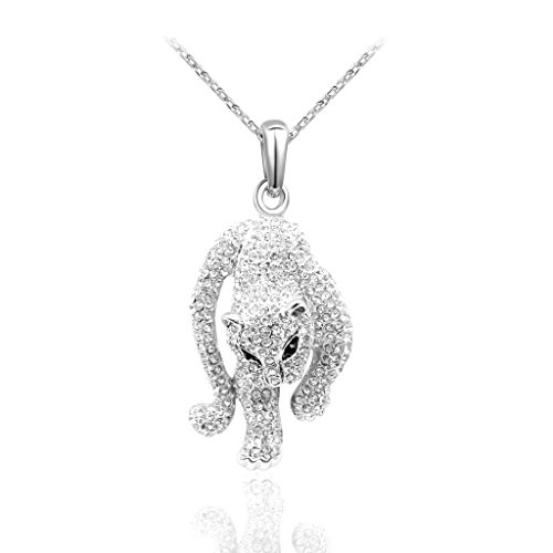 Blinglove 18k White Gold Plated Rhinestone Panther Pendant Necklace for (Panther Rhinestone)