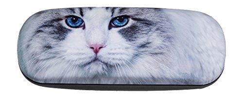Hard Shiny Eyeglass Case Adorned With Photo Beautiful Headshot Of Blue-Eyed - Cat Eyed