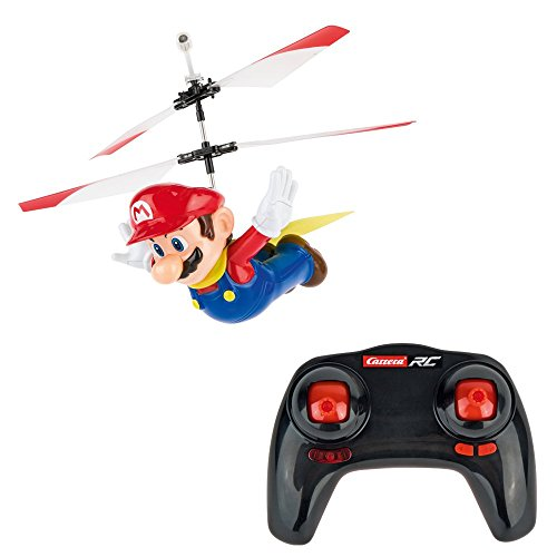 Carrera RC - Officially Licensed Flying Cape Super Mario 2.4GHz 2-Channel Rechargeable Remote Control Helicopter Drone Toy with Easy to Fly Gyro System (Mario Slot Car Race Track Sets)