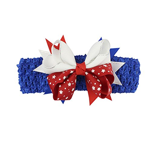 Baby Girl Headbands, Newborn Infant Toddler Hairbands with Bows for Childs 4th of July Patriotic Hair Decor Accessories Blue]()