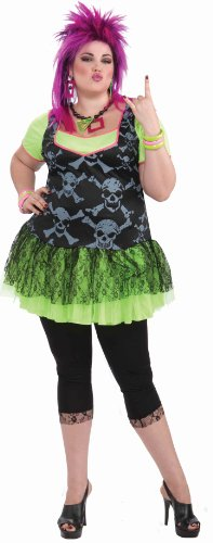 [Forum Novelties Women's 80's Punk Lady Plus Size Costume, Green, Plus] (Plus Size Adult Halloween Costumes Ideas)