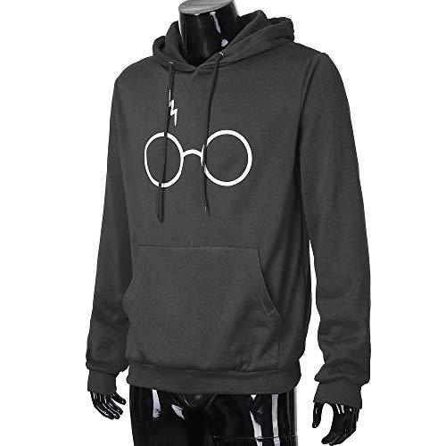 zarupeng larga Escudo Marca Gris Gafas Casual Varsity Sudaderas con Sudadera Camisas manga capucha capucha de Potter Harry Tops Pullover Deportes con Sport Stripes qXfrqxgpw