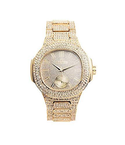 ICE BOX Cuban Link Bracelet & AP Watch Set. Gold Bust Down CZ Diamonds Watch. Hip Hop Rapper Jewelry Rollie Cuban Bling Bracelet. Mille AP Watch by ICE BOX (Image #2)