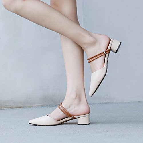 Bare Baotou Female Wear Leather Two Slippers Nude Pointed Shoes white Wild ZHANGJIA Color Half Summer Flat Slippers UZYq5wq