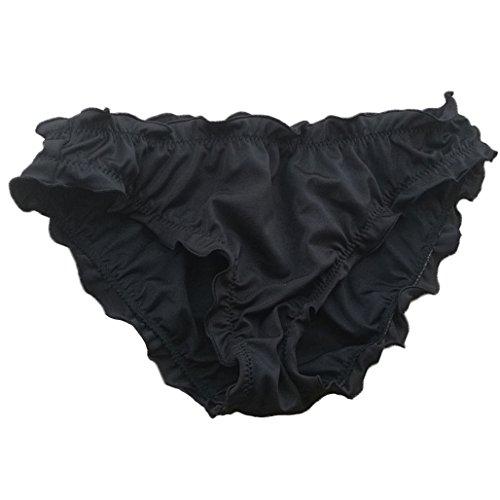 Malinsa Women's Ruffle Wavy Victoria Bikini Bottom Low Rise Hipster Allure Swimsuit Large Black