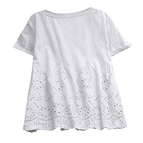 Letdown Linen Shirts for Women Plus Size Short Sleeve Solid V-Neck Plain Basic Tee Top Blouse Shirts