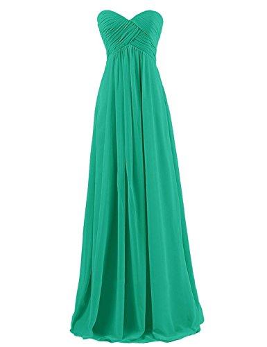formale Abendkleider Party Festkleider Kleid Kleid Kleider Chiffon Kleid Brautjungfern CoCogirls Damen Trägerlos Lange Brautjungfer Green ROznqHv