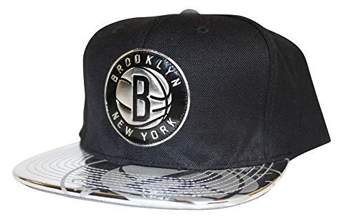Team Baseball Brooklyn (Mitchell & Ness NBA Brooklyn Nets Team Standard Snapback Adjustable Hat, Black/Silver, One Size)
