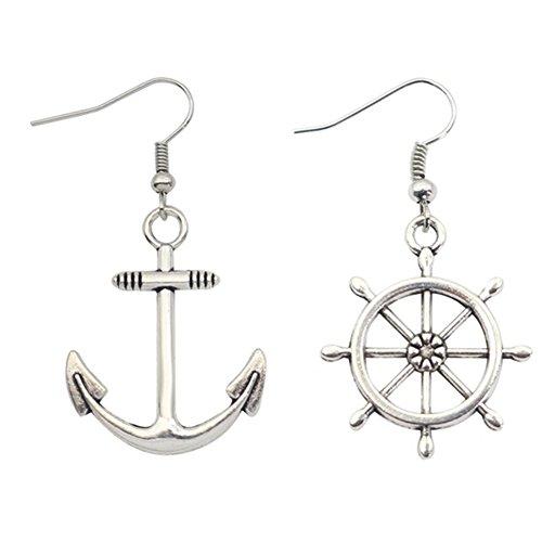 S925 Silver Plated Vintage irregular White boat anchor Women Long dangle Earrings