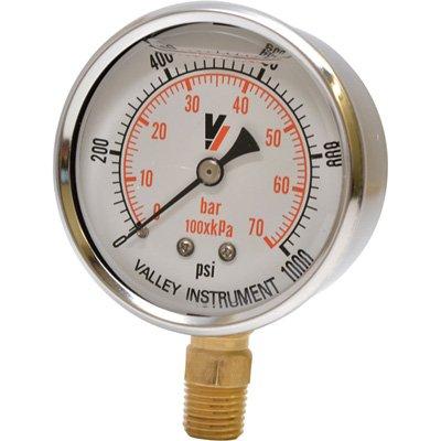 Valley Instrument Grade A Stem Mount 2 1/2in. Glycerin Filled Gauge - 0-1,000 PSI