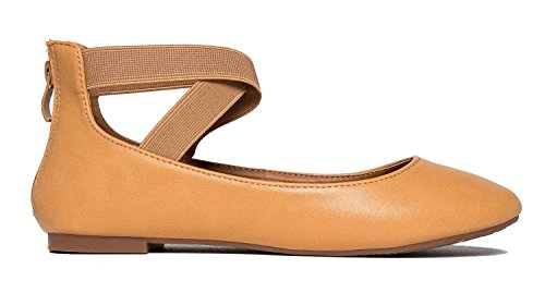 Shoe Slip Beige Ballet Kelli By Adams Low Elastic Comfortable J Pu Closed Ankle Toe Cross On Strap zI7ngqZT